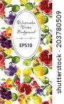 watercolor vector fruits... | Shutterstock .eps vector #203780509