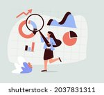 analyst looking at digits and... | Shutterstock .eps vector #2037831311