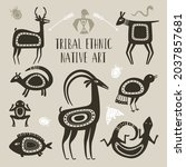 native totem animals. tribal... | Shutterstock .eps vector #2037857681
