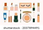 set of cosmetics makeup with...   Shutterstock .eps vector #2037894491