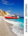 Small photo of Boat on Lalaria Beach, Skiathos Island, Greece