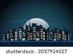 night city urban skyscraper... | Shutterstock .eps vector #2037914327