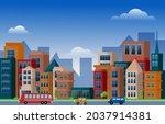 traffic city urban skyscraper... | Shutterstock .eps vector #2037914381