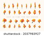 autumn collection of trees in... | Shutterstock .eps vector #2037983927