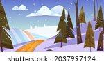 winter landscape with snow... | Shutterstock .eps vector #2037997124