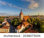 St. James, Evangelical church, castle of the Warmian chapter, garrison church of the Blessed Virgin Mary, Queen of Poland and the town hall - at sunrise - Olsztyn, Warmia and Masuria, Poland, Europe