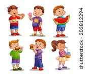 kids with food and drink ... | Shutterstock .eps vector #203812294