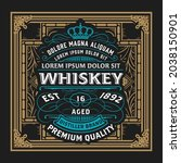whiskey label with old frames   Shutterstock .eps vector #2038150901