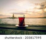 turkish tea served at sitting... | Shutterstock . vector #203817595