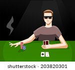 playing poker    Shutterstock .eps vector #203820301