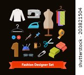 fashion designer tools and... | Shutterstock .eps vector #203821504