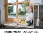a 1 5 years old boy in the... | Shutterstock . vector #203824351
