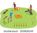 illustration of pet owners... | Shutterstock .eps vector #203828149