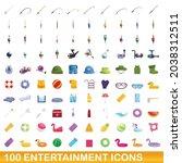 100 entertainment icons set....   Shutterstock .eps vector #2038312511
