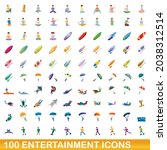100 entertainment icons set....   Shutterstock .eps vector #2038312514