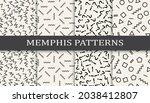 set of memphis style seamless... | Shutterstock .eps vector #2038412807
