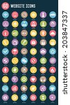 60 website flat icons color... | Shutterstock .eps vector #203847337