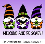 halloween gnomes with bat ...   Shutterstock .eps vector #2038485284
