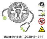 vector wire frame cow... | Shutterstock .eps vector #2038494344