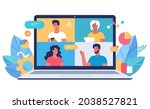 young people using video... | Shutterstock .eps vector #2038527821