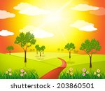 countryside sunny representing... | Shutterstock . vector #203860501