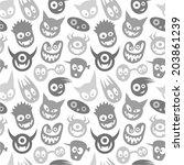 seamless funny monsters.  | Shutterstock .eps vector #203861239