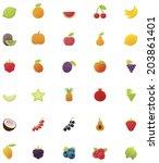 vector fruits icon set | Shutterstock .eps vector #203861401