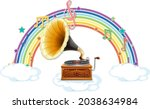 Gramophone With Melody Symbols...
