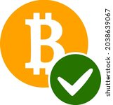 valid bitcoin icon with flat...