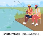 fishing with friend flat color... | Shutterstock .eps vector #2038686011