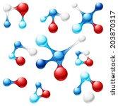 bright vector molecule icon set | Shutterstock .eps vector #203870317