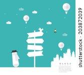 modern road sign land idea... | Shutterstock .eps vector #203872039