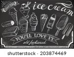 hand drawn ice cream set on... | Shutterstock .eps vector #203874469