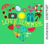 different summer items ... | Shutterstock .eps vector #203879287