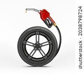 car wheel with a fuel nozzle on ... | Shutterstock .eps vector #2038798724