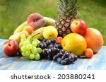 Variety Of Fruits On Table In...