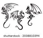 set of tribal dragons.... | Shutterstock .eps vector #2038810394