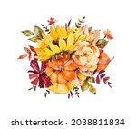 watercolor bouquet with bright...   Shutterstock . vector #2038811834