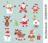 set of vintage christmas... | Shutterstock .eps vector #203894539