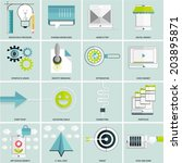 set of flat icons for web and... | Shutterstock .eps vector #203895871