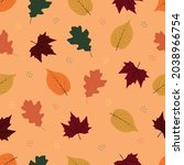cute autumn seamless pattern... | Shutterstock .eps vector #2038966754