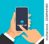 hand holds phone with quick... | Shutterstock .eps vector #2038969484
