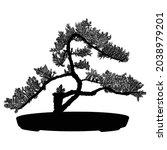 bonsai tree black silhouette on ... | Shutterstock .eps vector #2038979201