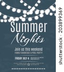 elegant summer night party... | Shutterstock .eps vector #203899369