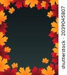 frame made from autumn leaves....   Shutterstock .eps vector #2039045807