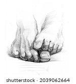 Pencil Sketch Of Male Feet.