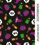 halloween colored pattern ...   Shutterstock .eps vector #2039088404