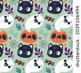 halloween pattern background....   Shutterstock .eps vector #2039106494