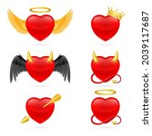 set of angel and devil hearts...   Shutterstock .eps vector #2039117687