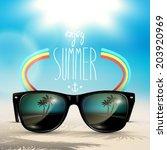 vector summer blurred beach ...   Shutterstock .eps vector #203920969